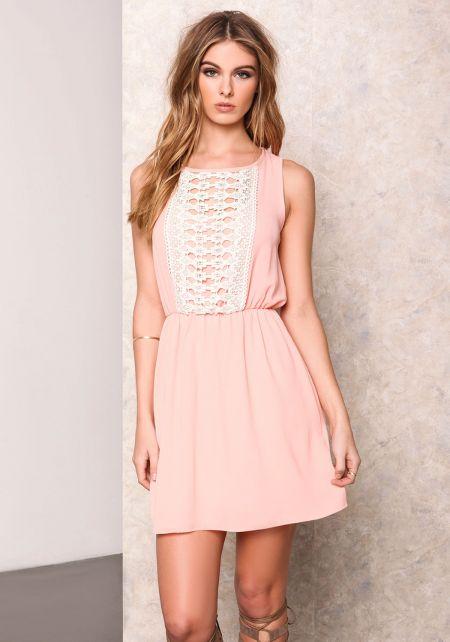 Peach Crochet Backless Flare Dress