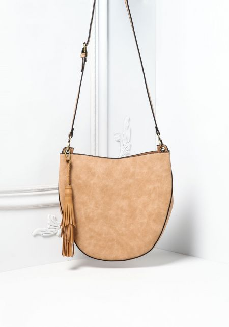Tan Curved Leatherette Crossbody Bag with Pouch