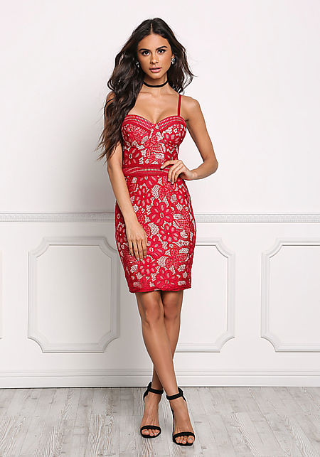 Red Bustier Floral Lace Bodycon Dress