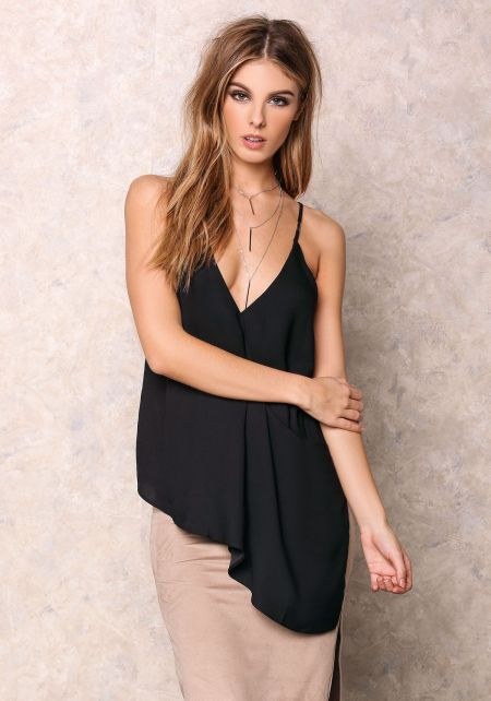 Black V Neck Slanted Cami Top