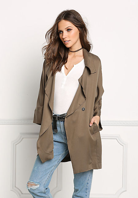 Olive Light Slouchy Trench Coat
