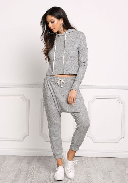 Heather Grey Soft Knit Marled Harem Jogger Pants