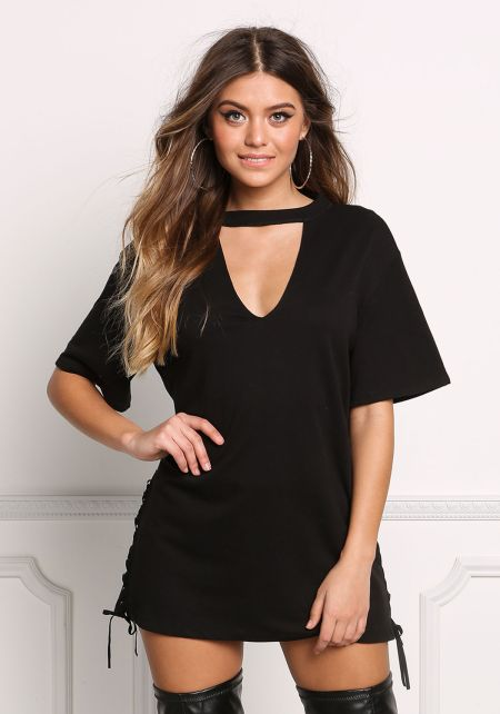 Black V Cut Out Side Lace Up Tunic Top