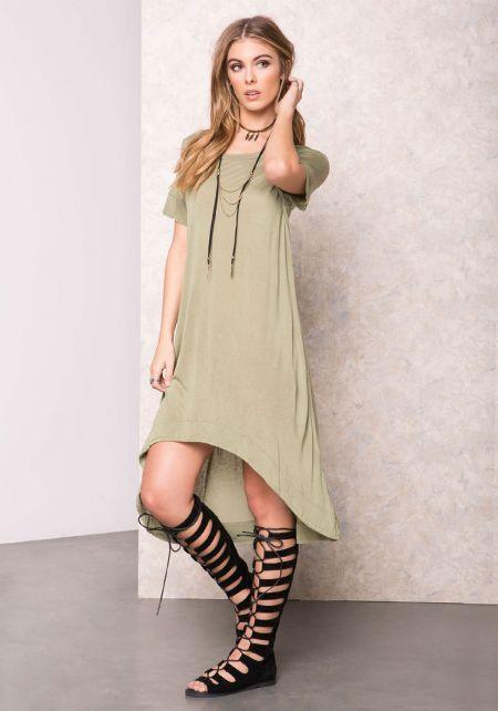 Olive Soft High Low T-Shirt Dress