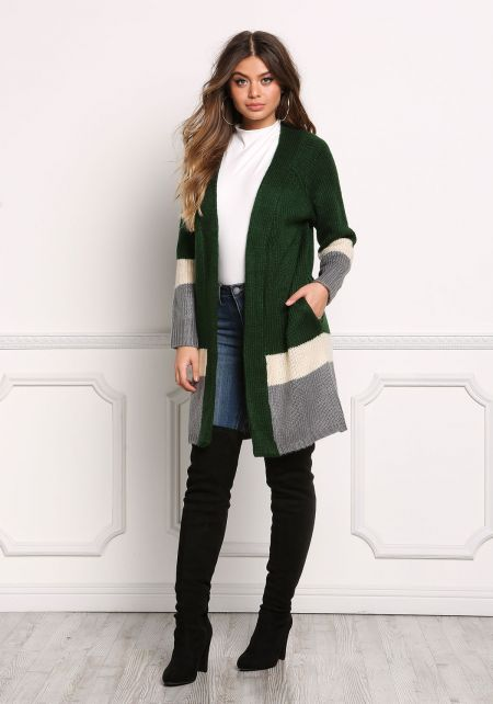 Hunter Green Color Block Thick Knit Cardigan