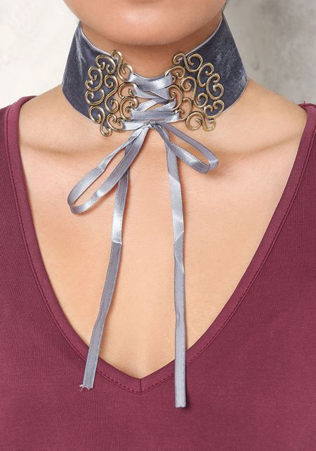 Grey Velvet Plaque Lace Up Choker