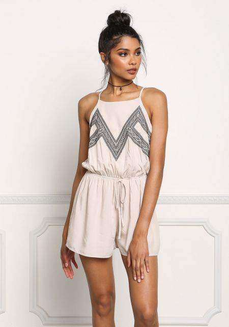 Taupe Tribal Embroidered Drawstring Romper