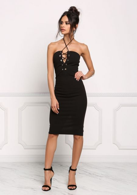 Black Plunge Lace Up Halter Bodycon Dress