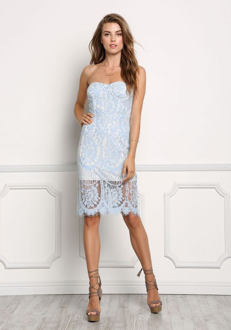 Baby Blue Floral Lace Bodycon Dress