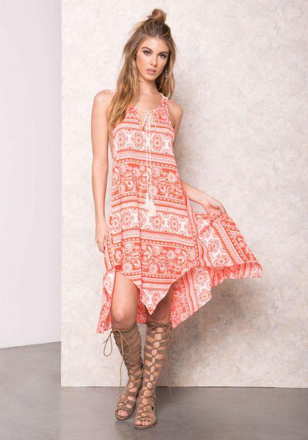 Coral Delilah Crochet Print Midi Dress