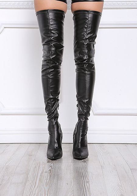 Black Leatherette Thigh High Boots