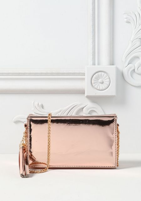 Rose Gold Chrome Rectangular Crossbody Bag