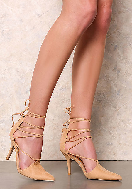 Toffee Suedette Lace Up Pointed Toe Heels