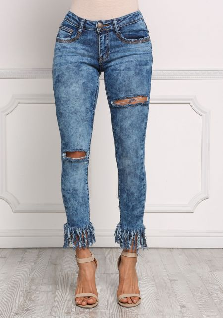 Denim Acid Wash Frayed Distressed Jeans