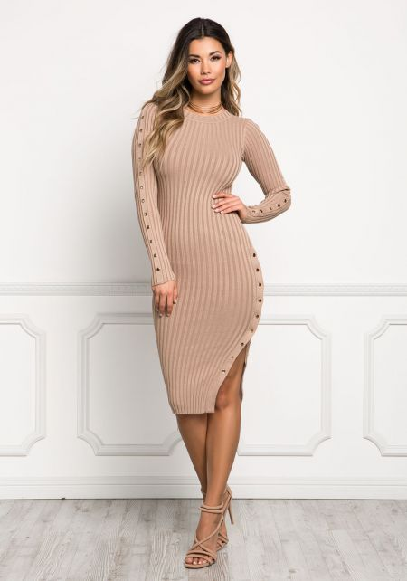 Nude Button Slit Ribbed Trim Bodycon Dress