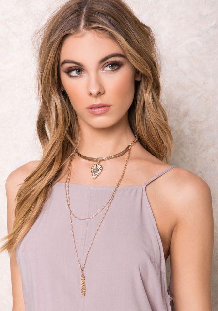 White Matte Gold Layered Bohemian Necklace