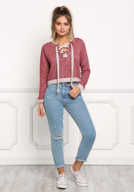 Burgundy Marled Cropped Lace Up Sweater Top