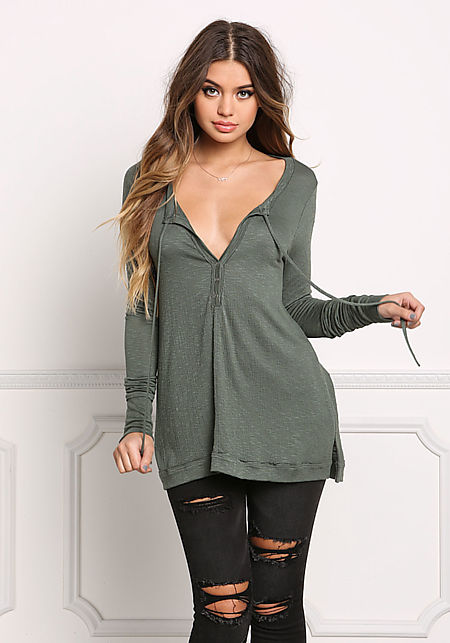 Olive Marled Low Cut Buttoned Top