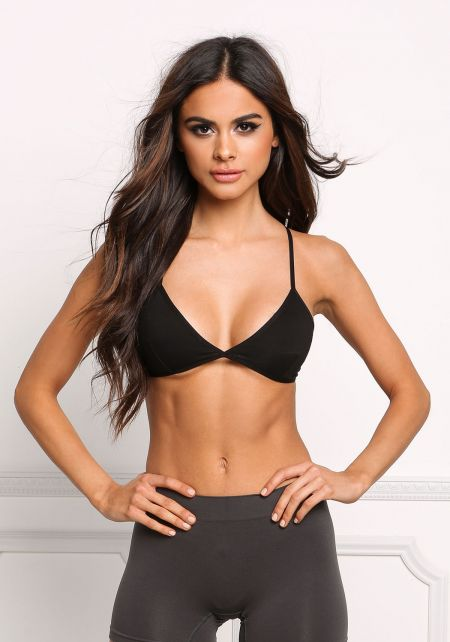 Black Jersey Knit Cross Strap Bralette