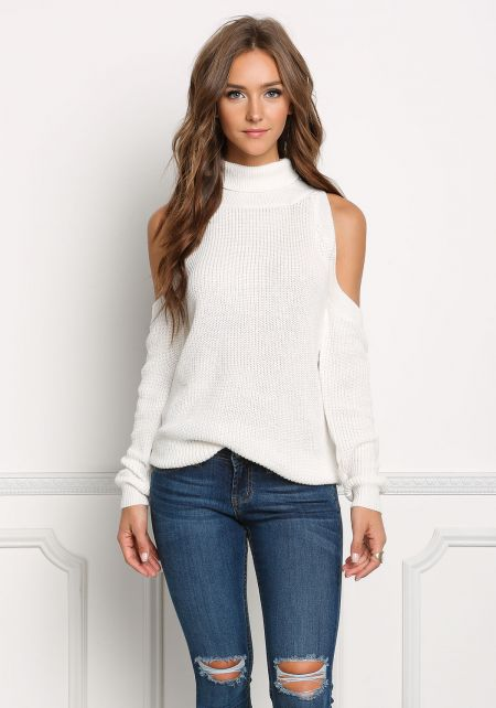 Ivory Cold Shoulder Sweater Knit Top