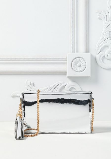 Silver Chrome Rectangular Crossbody Bag