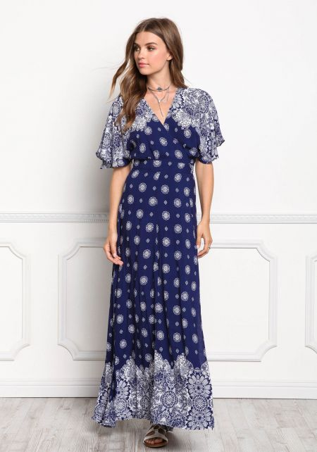 White and Navy Printed Wrap Maxi Dress