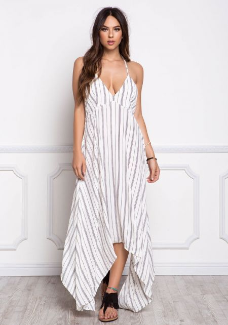 White and Black Pinstripe Tassel Strap Pointed Maxi Dress