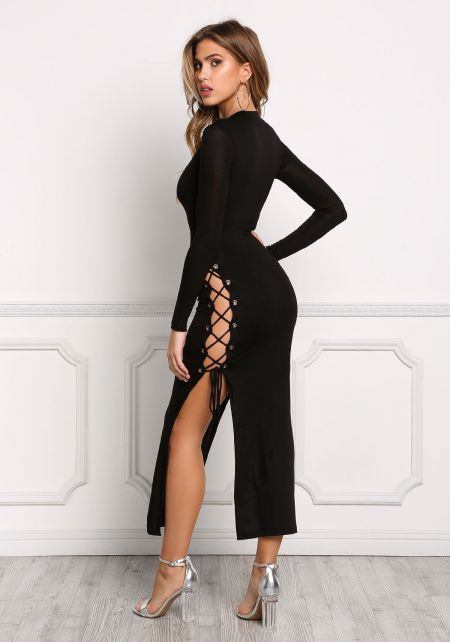 Black High Slit Lace Up Midi Bodycon Dress