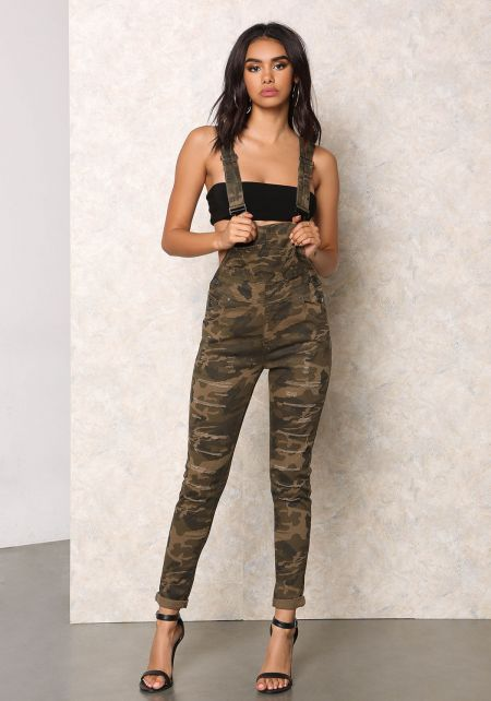 Camo Shredded Denim Overalls