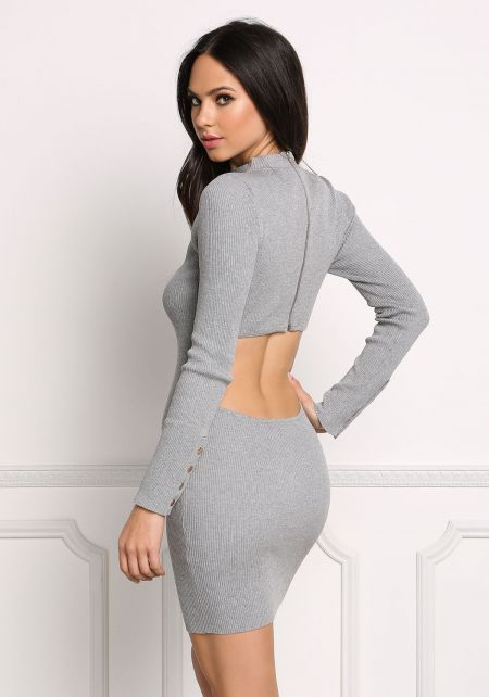 Heather Grey Back Cut Out Ribbed Knit Bodycon Dres