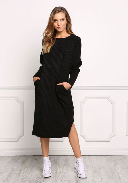 Black Thick Ribbed Knit Midi Shift Dress