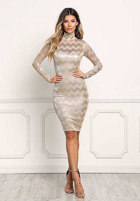Gold Metallic Chevron Bodycon Dress