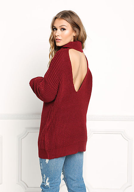 Burgundy Back Cut Out Sweater Top