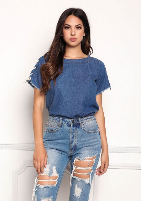 Denim Boxy Lace Up Sleeve Top