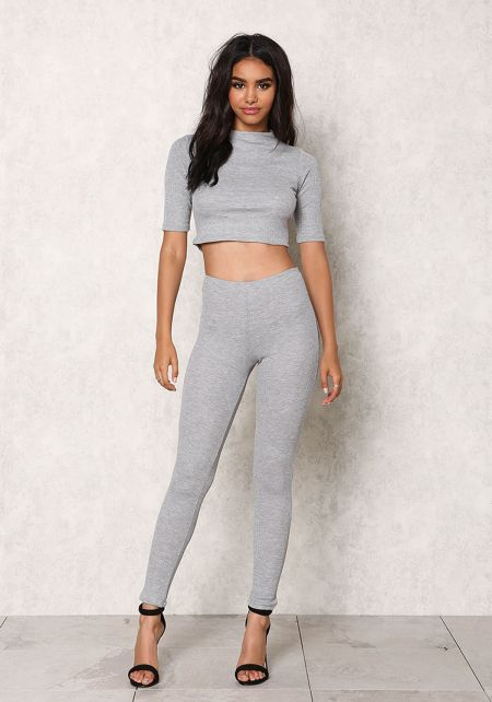 Heather Grey Thermal High Waist Leggings