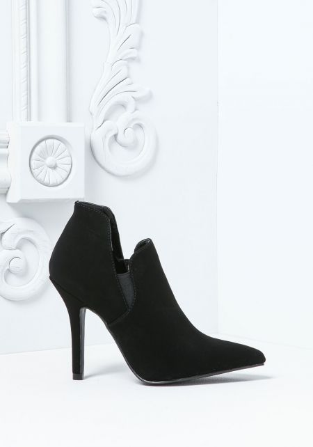 Black Suedette Point To Booties