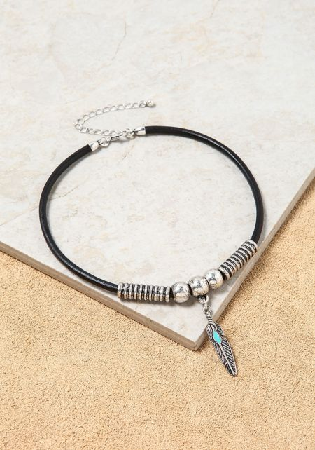 Silver and Black Feather Bead Choker