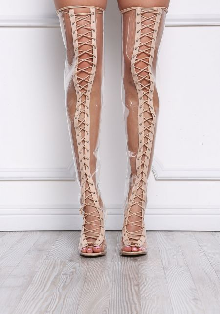 Nude Perspex Lace Up Thigh High Boots