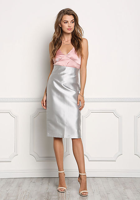 Silver Lustrous Taffeta Pencil Skirt