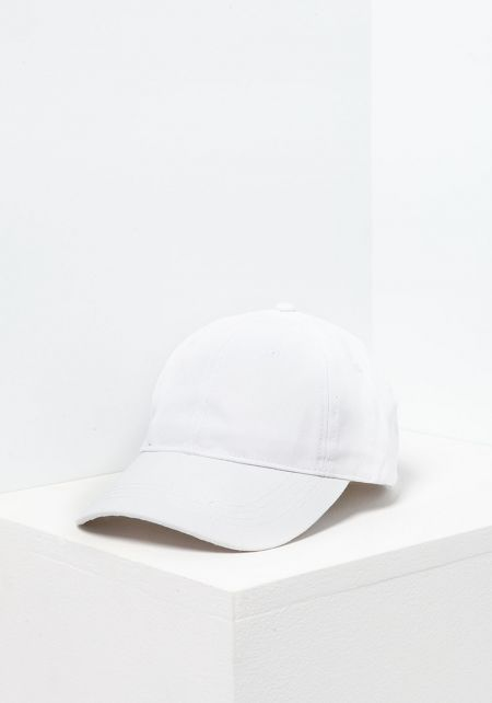 White 6 Panel Cotton Baseball Cap