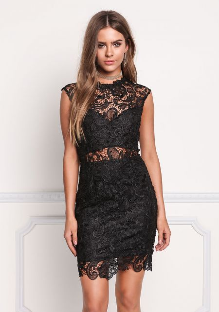 Black Paisley Embroidered Lace Bodycon Dress