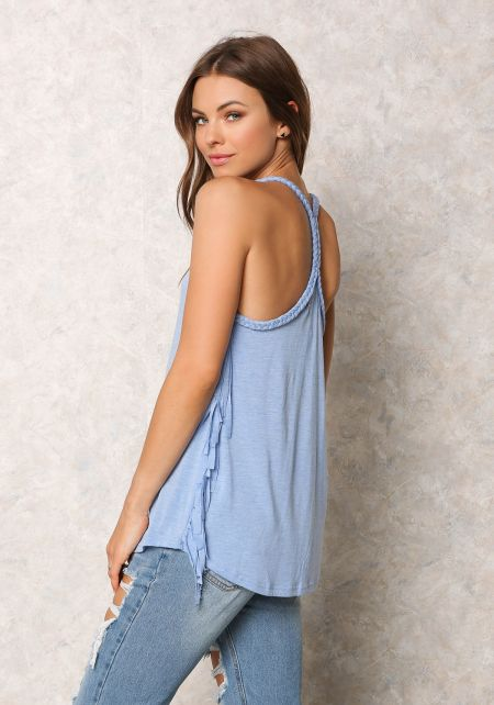 Blue Jersey Knit Braided Strap Fringe Tank Top