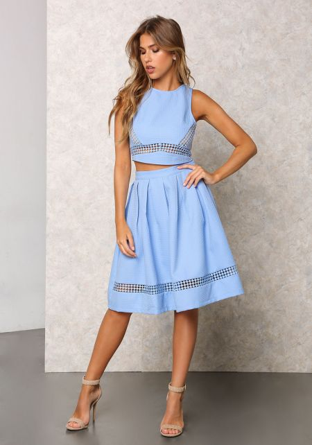 Sky Blue Embossed Cut Out Pleated Skirt
