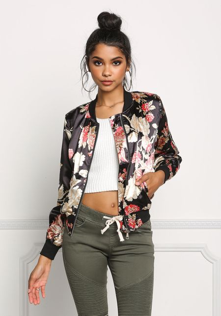 Black Silky Floral Print Bomber Jacket