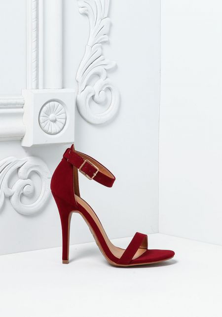 Burgundy Suedette Single Ankle Strap Heels