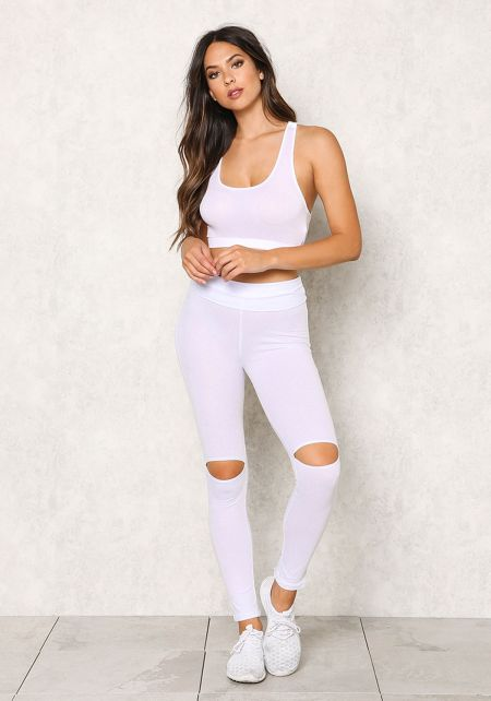 White Jersey Knit Knee Slit Leggings