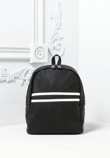 Black Two Stripe Leatherette Mini Backpack