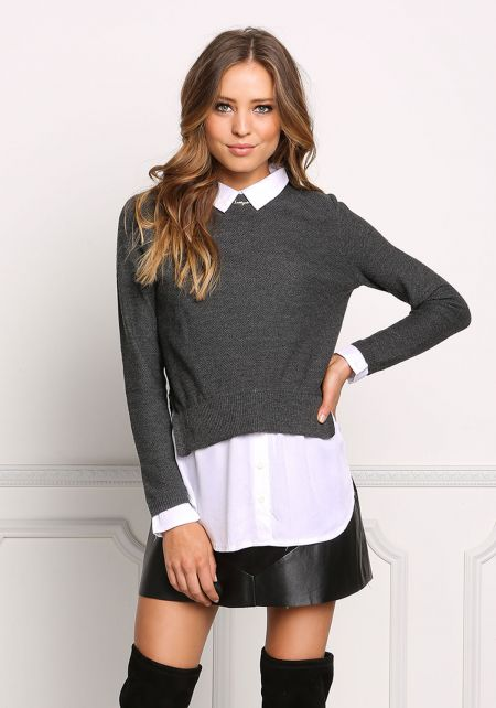 Charcoal Two in One Collared Sweater Top