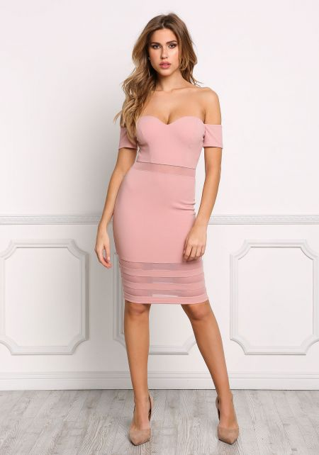 Dusty Rose Off Shoulder Mesh Inset Bodycon Dress