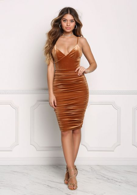 Copper Velvet Ruched Bodycon Dress